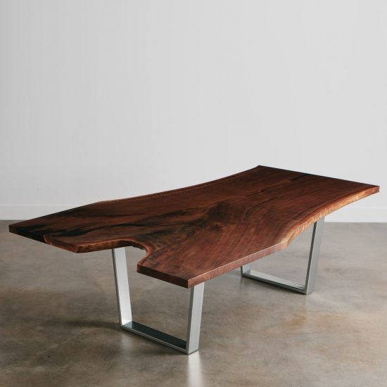 Live edge single slab black walnut custom conference dining table