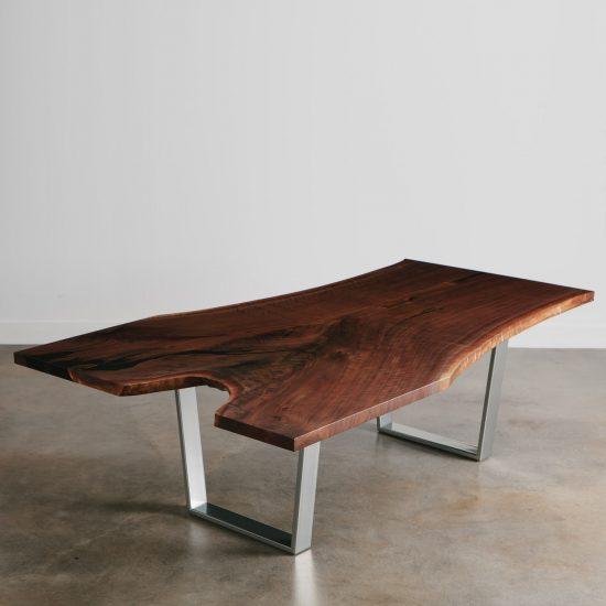 Live edge single slab black walnut custom conference dining table