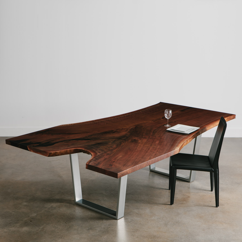 b8b56a7e6fc80 Single slab live edge walnut custom table with chrome base
