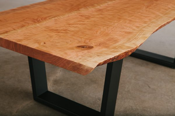 Natural tree edge salvaged slab turned coffee table