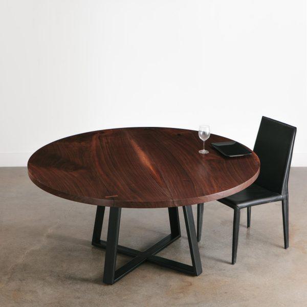 Modern walnut round dining room table