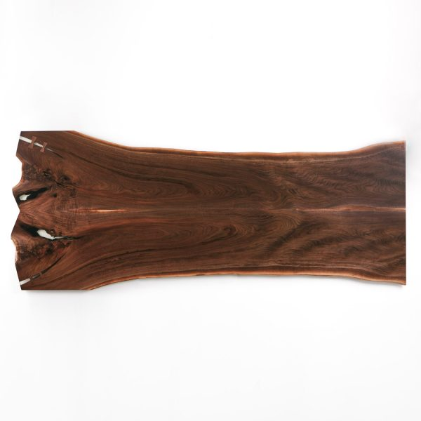 Live edge bookmatched walnut table made from tree