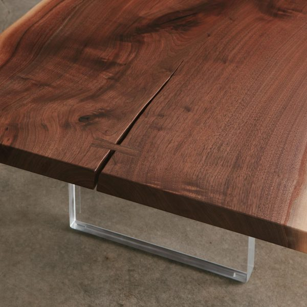Walnut slab with lucite base