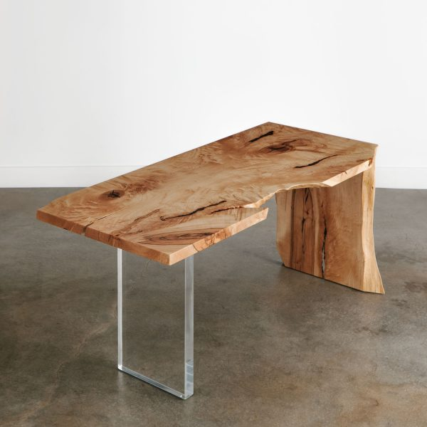 Modern live edge office desk with contemporary lucite and waterfall legs