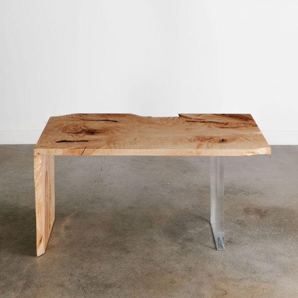 Trendy live edge maple slab office desk with clear acrylic base