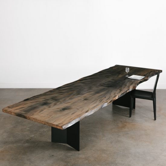Ebonized maple silver dining room table with live tree edges