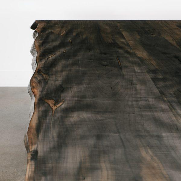 Figured ebonized maple slab wood grain detail