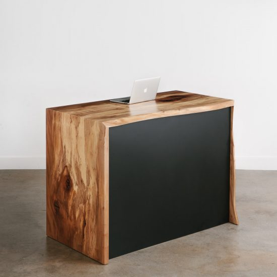 Trendy live edge enclosed waterfall desk