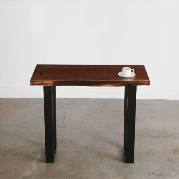 Live edge slab walnut console table with natural tree character