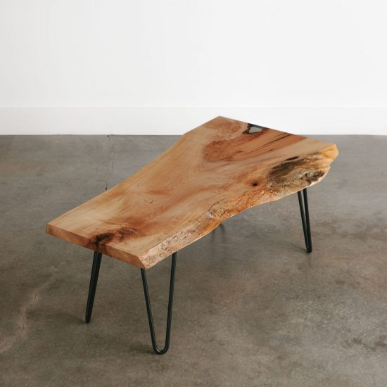 Modern live edge maple coffee table for apartments