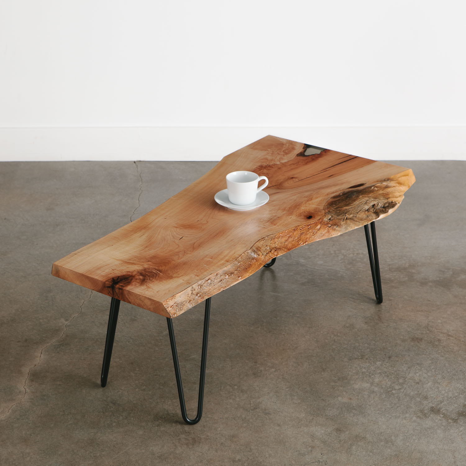 - Luxury Live Edge Coffee Table With Skinny Black Hairpin Legs