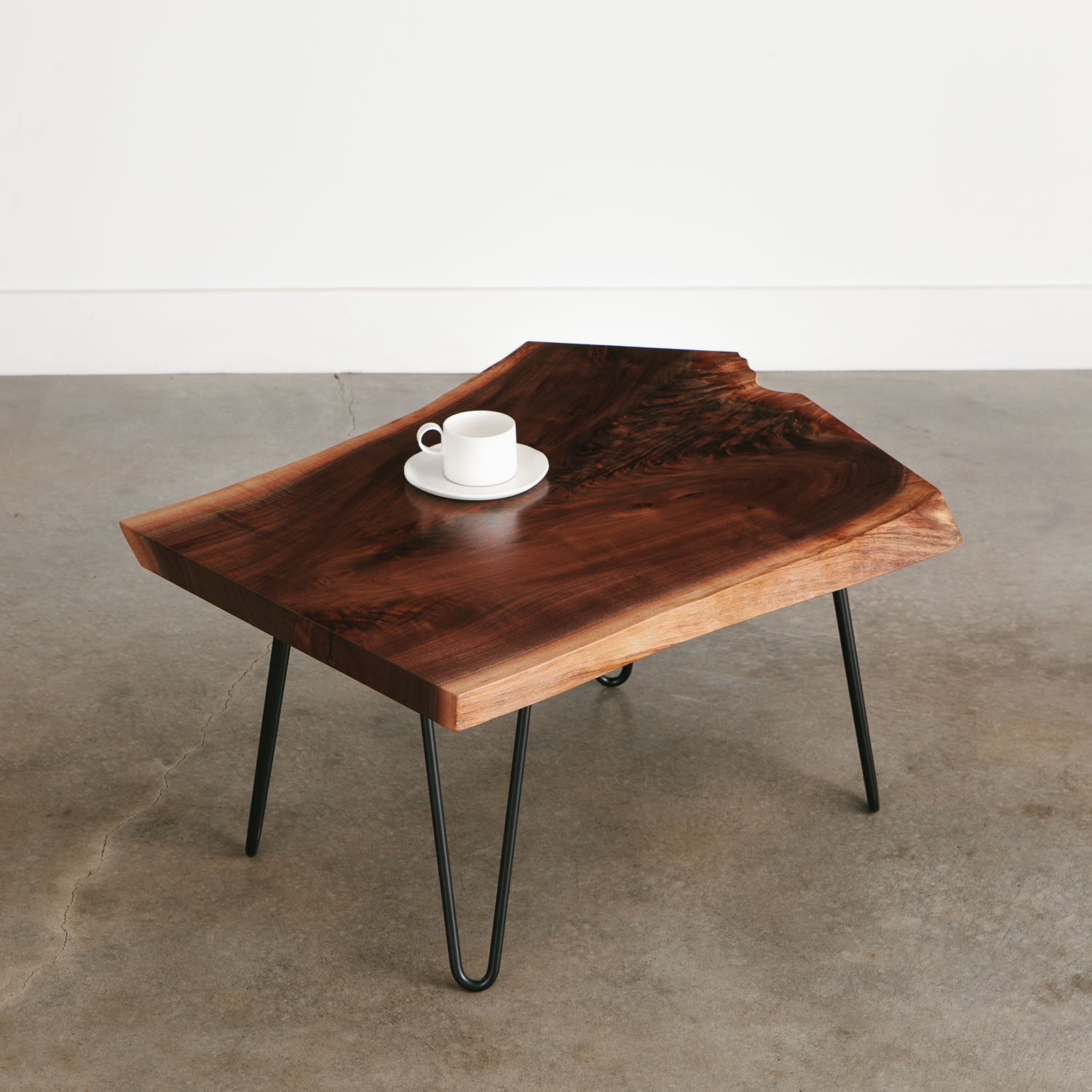 - Walnut Live Edge Coffee Table With Black Skinny Hairpin Legs