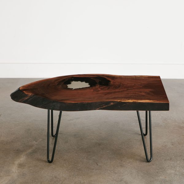 Luxury walnut coffee table with black hairpin legs