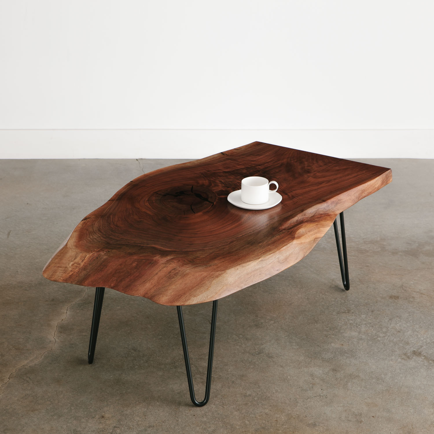 - Walnut Slab Coffee Table With Black Hairpin Legs For Apartment
