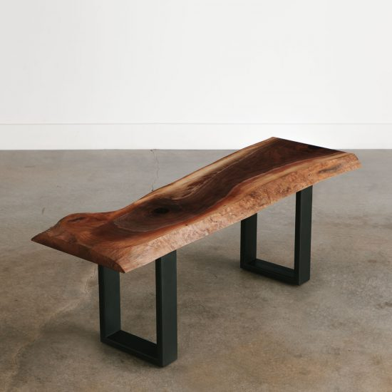 Live edge walnut slab bench with black steel base
