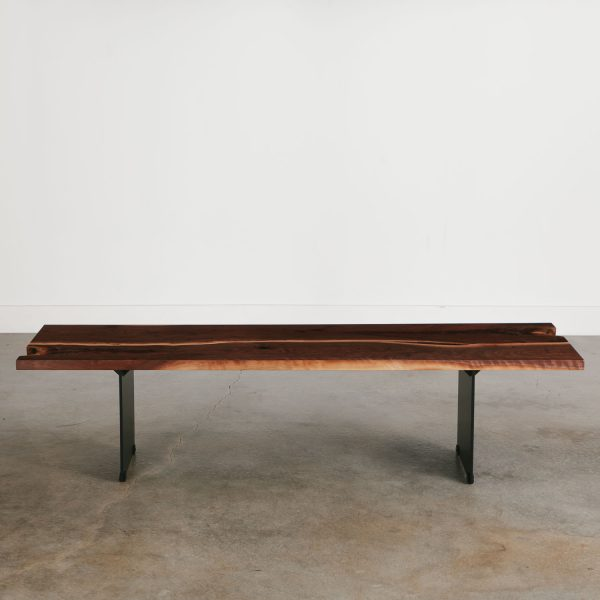Long modern live edge bench with black base