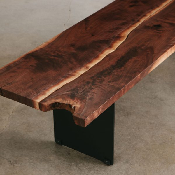 Modern walnut live edge bench with black steel base
