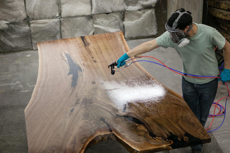Live edge walnut slab finishing Elko Hardwoods