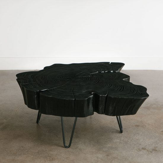 Live edge black coffee table with skinny black legs