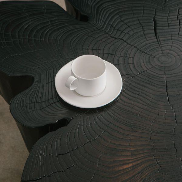 Live edge blackened coffee table Elko Hardwoods