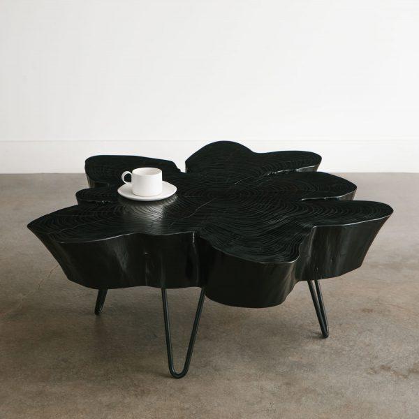 Shou shi ban blackened coffee table with black thin steel legs