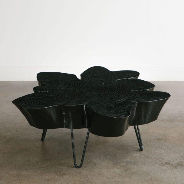 Live edge mid century modern coffee table with skinny black legs