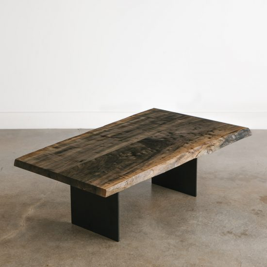 Modern furniture live edge ebonized coffee table with black legs