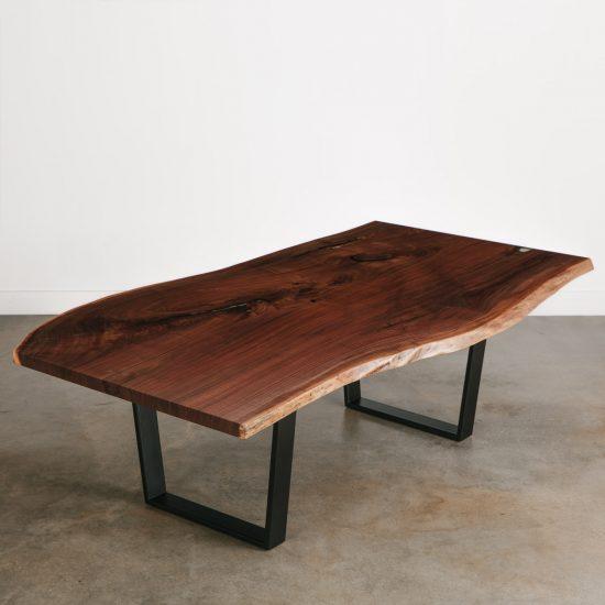 Modern live edge walnut table with black steel legs