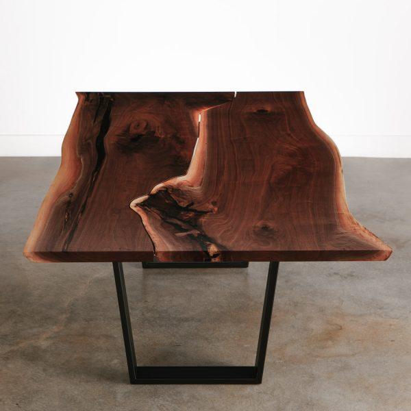 Handmade walnut live edge table with black steel legs