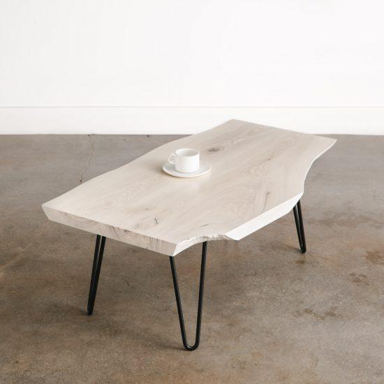 Live edge boho white textured small coffee table