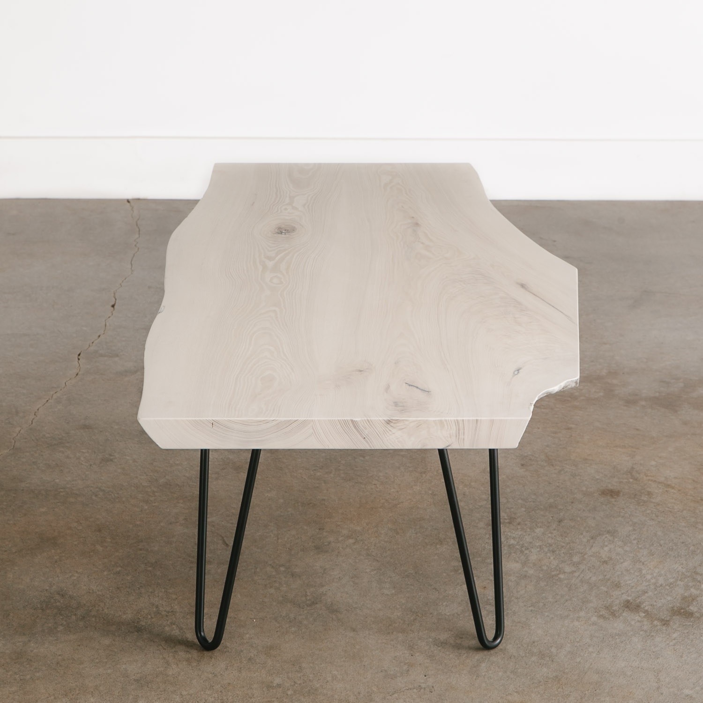 Whitewashed Ash Coffee Table Elko Hardwoods Modern Live Edge