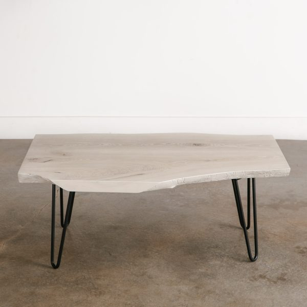 Trendy white coffee table with black hairpin legs Chicago