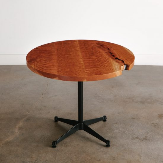 Modern live edge round kitchen cafe table with black base