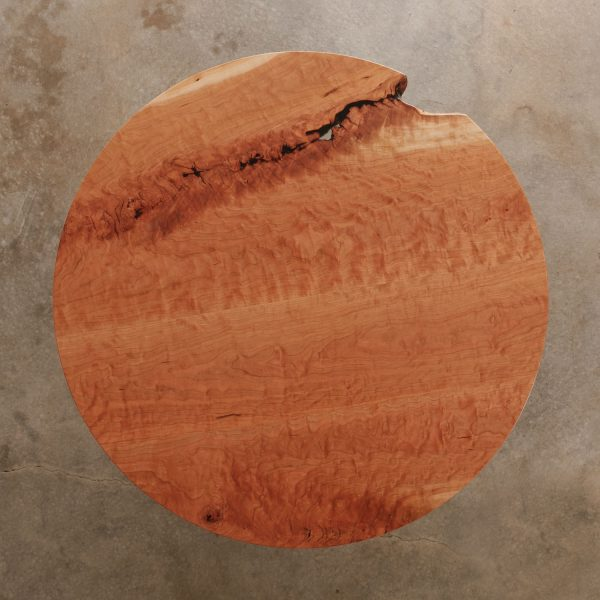 Live edge round cafe table with red brown color
