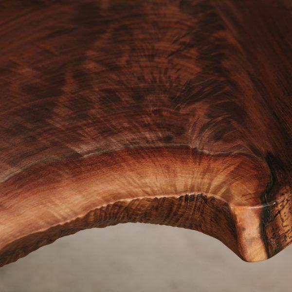 Figured walnut wood grain with matte finish at Elko Hardwoods furniture store Chicago