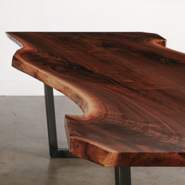 Live edge walnut slab table detail Elko Hardwoods