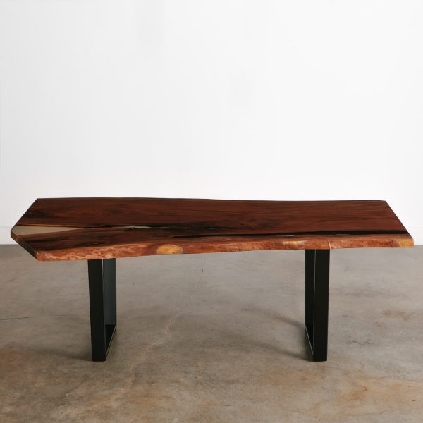 Live edge walnut slab dining table with black steel legs