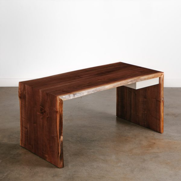 Custom waterfall desk made from a single slab of black walnut