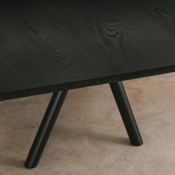 Blackened ash table detail at Elko Hardwoods furniture store Chicago