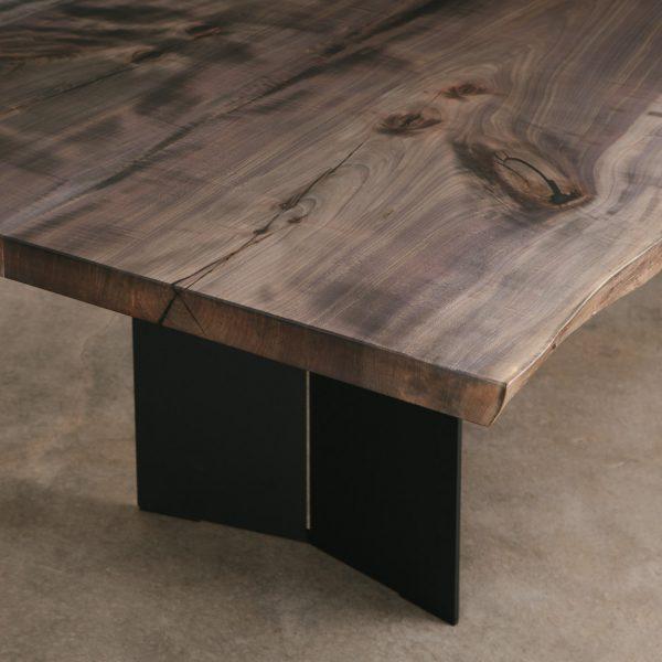 Ebonized maple dining table with custom steel base
