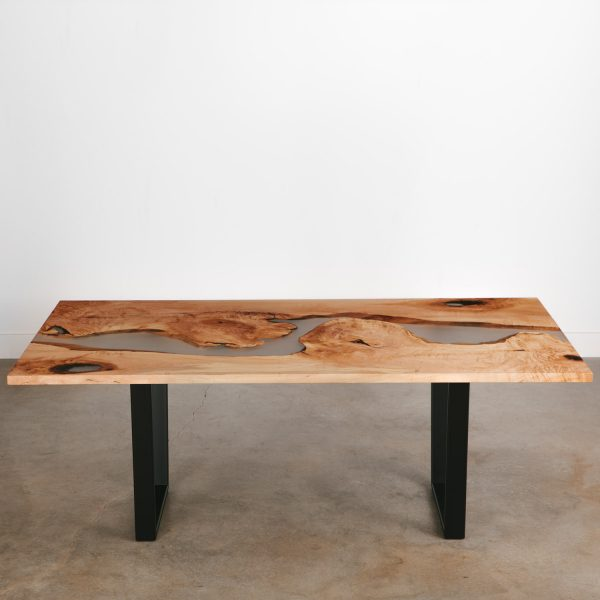 Handmade live edge dining table with clear river epoxy resin
