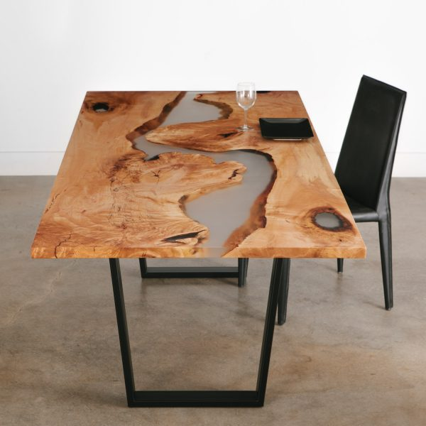 Custom live edge river table handmade with clear resin