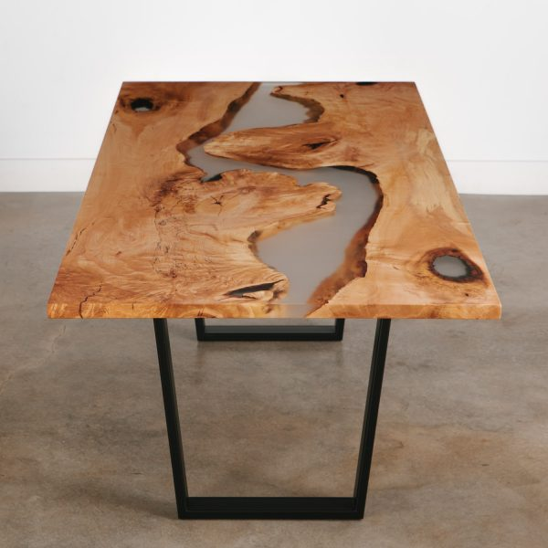 Live edge maple resin river dining table with steel base