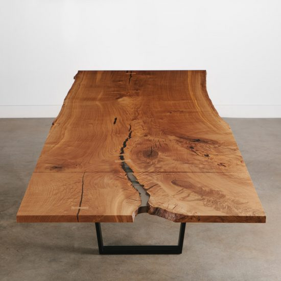Live edge expanding dining table with leaf