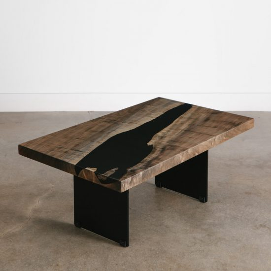 Custom live edge river coffee table with black resin