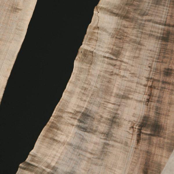 Detail of grey oxidized finish on maple