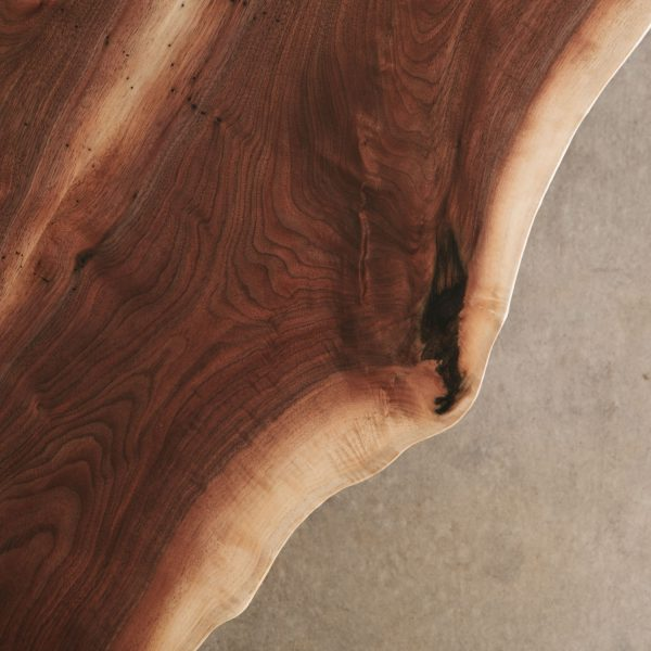 Live edge walnut slab edge detail