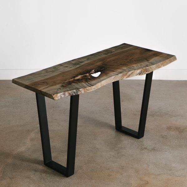 Custom grey live edge console table thin with black steel legs