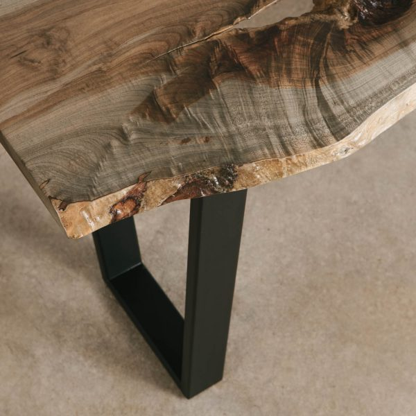 Grey maple table with natural tree character for luxury modern home