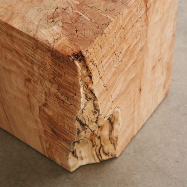 Live edge maple cube side table detail for mid century decorated home